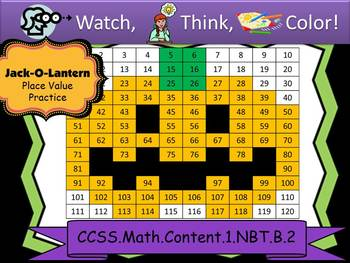 Jack-o-Lantern Place Value - Watch, Think, Color! CCSS.1.NBT.B.2