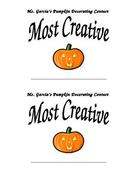 Jack-o-Lantern Pumpkin Award (Halloween Award)