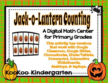 Jack-o-Lantern Teen Counting-A Digital Math Center (Compatible with Google Apps)