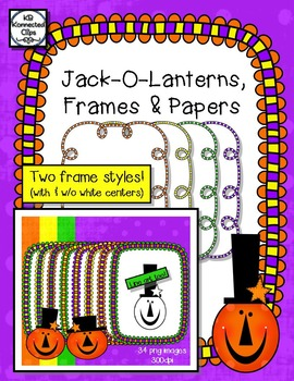 Jack-o-Lanterns, Frames and Papers - Halloween Clip Art