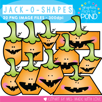 Jack 'o' Shapes Clipart - Combining 2D Shapes and Halloween