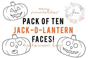 10 Jack-o-lantern Pumpkin Printouts for Halloween NO PREP