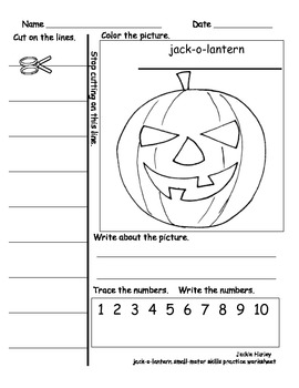 Jack-o-lantern Color and Cut with Sentence Building