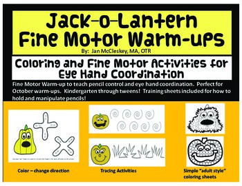 Jack-o-lantern Fine Motor Warm-ups for Eye Hand Coordination