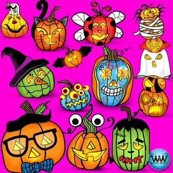 Jack-o-Lantern Halloween Clipart {Watson Works Clip Art/Graphics}