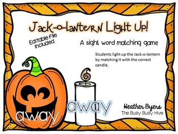 Jack-o-lantern Light Up! Sight word game editable