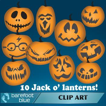 Jack o' lantern clip art, halloween pumpkins
