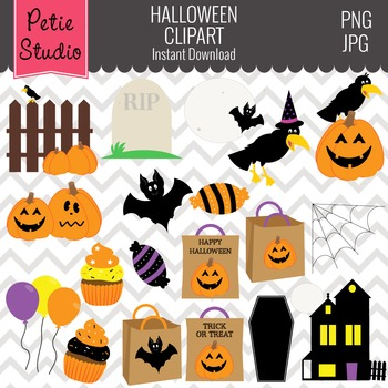 Jack-o-lanterns Clipart, Halloween Clipart, Haunted House