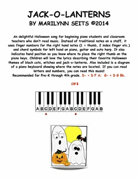 Jack-o-Lanterns - Song uses finger numbers and chord symbols for piano part.