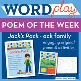 Jack's Pack - ack Word Family Poem of the Week - Short Vowel A Fluency Poem