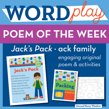 Jack's Pack - ack Word Family Poem of the Week - Short Vowel A Fluency Poem