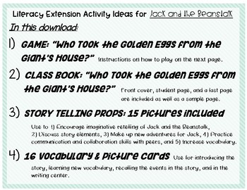 Jack & the Beanstalk - Game, Class Book, Story Props & Vocab cards