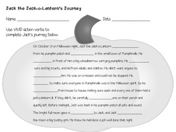 Jack the Jack-o-Lantern's Journey Action Verbs