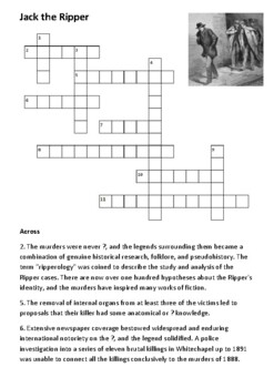 Jack the Ripper Crossword