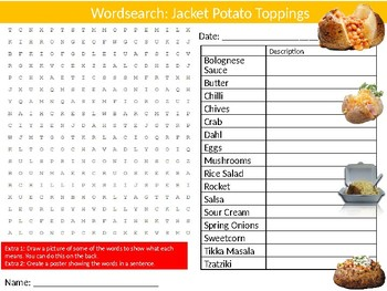 Jacket Potato Toppings Wordsearch Puzzle Sheet Keywords Food Health Nutrition