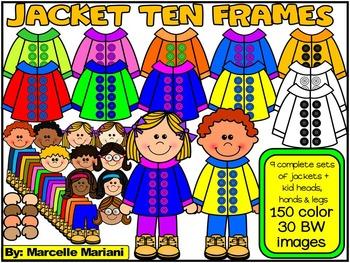 Spring Jacket Ten Frames Clip Art