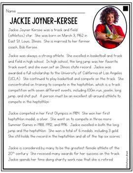 Jackie Joyner Kersee: Differentiated Biography Passages & Reading Comprehension