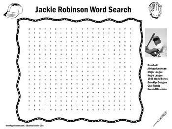 Jackie Robinson Worksheet | Jackie Robinson Word Search