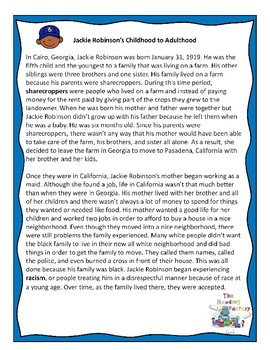 Jackie Robinson Black History Month Activities-Reading Comprehension