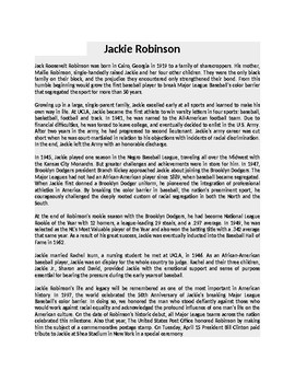 Jackie Robinson Article and Assignment