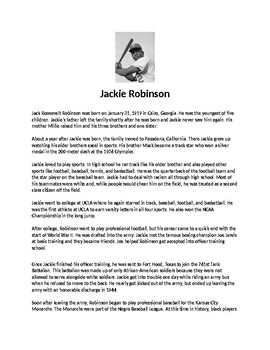 Jackie Robinson Biography Article and Assignment Worksheet
