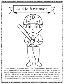 Jackie Robinson Biography Coloring Page Craft, African American, Athlete