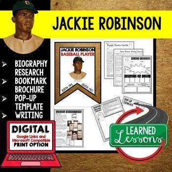 Jackie Robinson Biography Research, Bookmark Brochure, Pop
