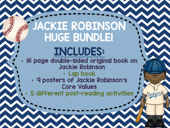 Jackie Robinson Black History Month bundle Lap Book Lapbook Baseball Values