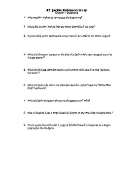 """Jackie Robinson Book """"42"""" Chapter 1 Questions"""