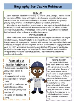 Jackie Robinson Close Reading Passage and Reading Comprehension Sheet