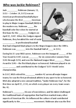Jackie Robinson Cloze Activity