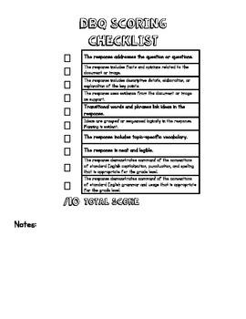 Jackie Robinson DBQ Five Day Plan with Scoring Checklist