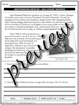 Early Life: Jackie Robinson Reading Comprehension Passage & Questions Nonfiction