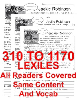 Jackie Robinson FACTS ALL-READERS-COVERED Close Read 5 Levels