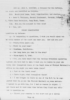 """Jackie Robinson """"Jim Crow"""" Court Martial & Military Personnel Records"""