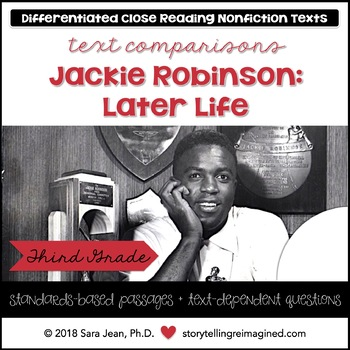 Later Life: Jackie Robinson Reading Comprehension Passages Questions Nonfiction