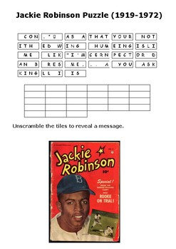 Jackie Robinson Message Puzzle Sheet