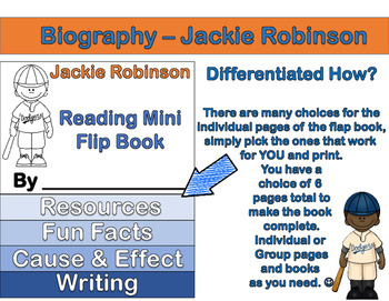 Jackie Robinson - Mini Biography Flip Book (Differentiated Reading and ELA)