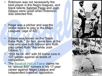 Jackie Robinson Powerpoint + Readings