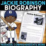 Jackie Robinson Reading Passage, Biography Report, & Comprehension Activities