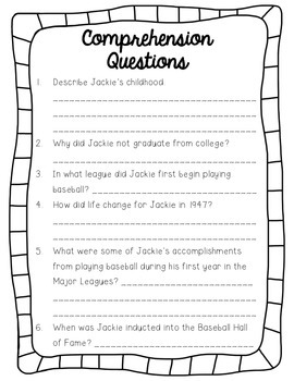 Jackie Robinson Reading Passage and Comprehension Questions
