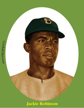 jackie robinson realistic clip art coloring page and poster by