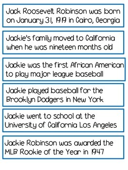 Jackie Robinson Sentence Sort