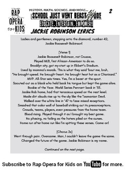 Jackie Robinson Song with Worksheet