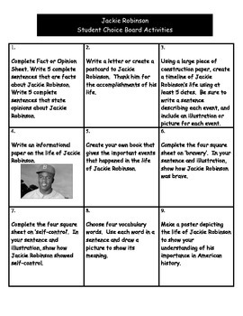 Jackie Robinson - Student Choice Board