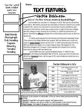 Jackie Robinson Text Feature