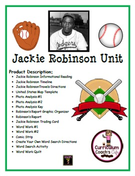 Jackie Robinson Unit:  12 Different Activities
