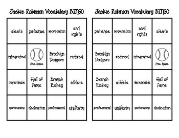 Jackie Robinson Vocabulary Pack
