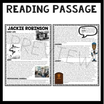 Jackie Robinson Reading Comprehension; Civil Rights, baseball, sports