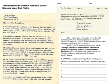 Jackie Robinson's Letter to Eisenhower constructed response and Vocabulary